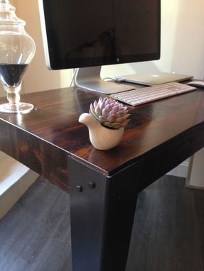 Custom Made Reclaimed Wood And Hand Welded Steel Industrial Desk