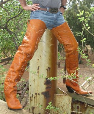 Custom Made Custom Made 37 Inches Tall  Leather Cowboy Boots 2¨ To 5¨ High  Heels Made To Order.