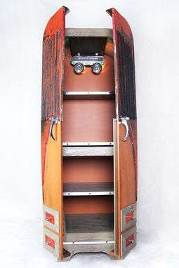 Custom Made Free-Standing Retro Cabinet With Recyled Automobile Parts