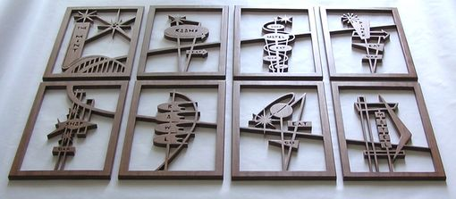 "Custom Made Mahogany 8-Panel Mid-Century Modern Fretwork Collage ""Googie Signs 1"""
