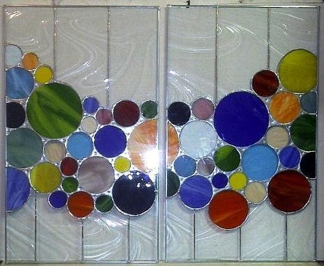 Custom Made Custom Stained Glass Cabinet Inserts - Bright Bubbles (Ic-1)