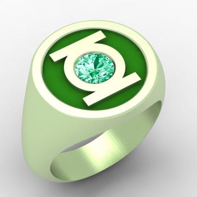 hand crafted green lantern ring by paul michael design custommadecom - Green Lantern Wedding Ring