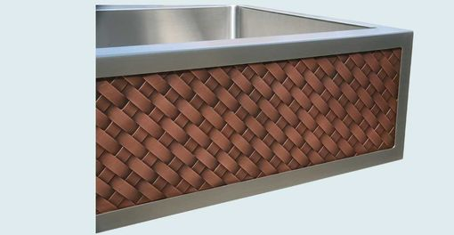 Custom Made Stainless Sink With Diagonally Woven Copper Apron