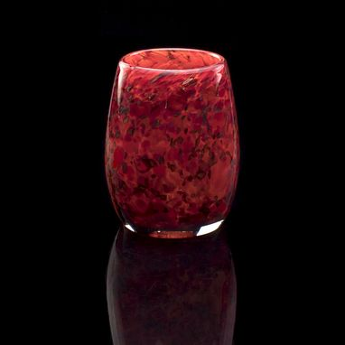 Custom Made Votive Candle Holder. Hand Blown Art Glass In Red.