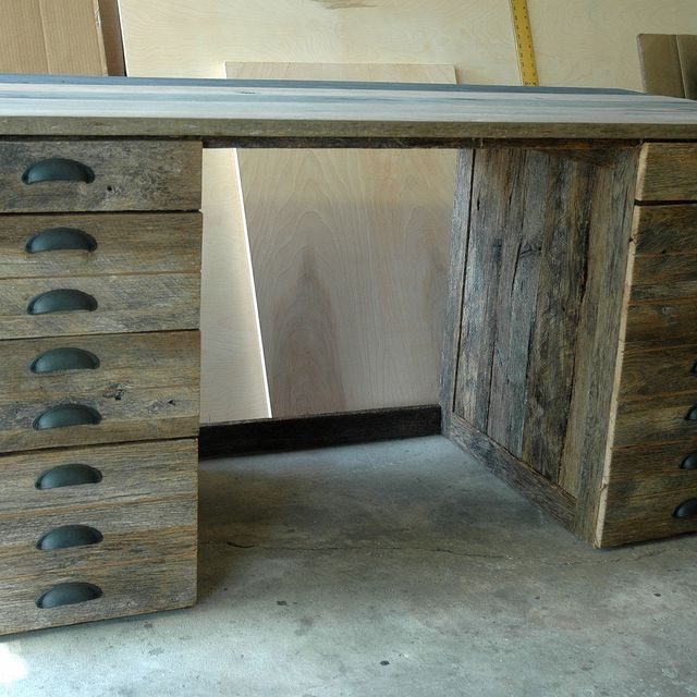 Hand Made Reclaimed Oak Wood Desk By WoodenItBeNice CustomMadecom - Reclaimed oak table top