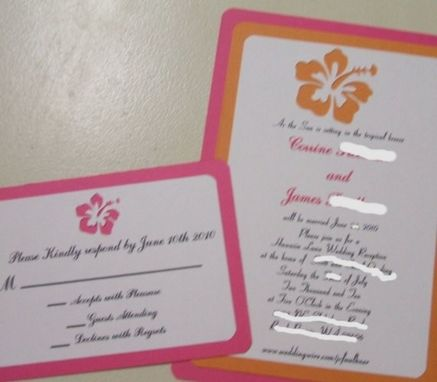Custom Made Custom Die Cut Wedding Invitation Suite Qty Of 100 Hibiscus Flower Diecut Matted Invite