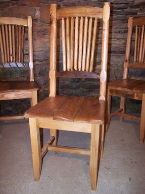 Custom Made Reclaimed Wormy Chestnut Wheat Sheaf Spindle Back Chairs