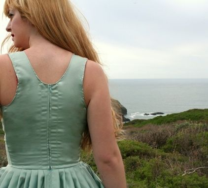 Custom Made To The Sea Dress 50s Vintage Inspired Custom Sundress In Ocean Green Silk And Ecru Lace