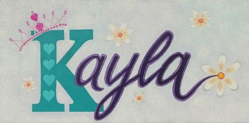 Custom Made Personalized Custom Nursery Name Girl Art / Kids Wall Art - Crown And Daisy. Painting Not A Print