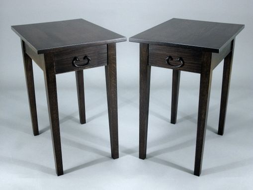 Custom Made Pair Of Oak Shaker Style End Tables