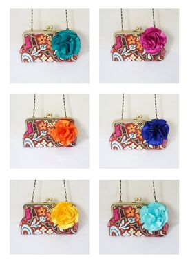 Custom Made Summer Of Love Bohemian Clutch Purse With Flower Brooch