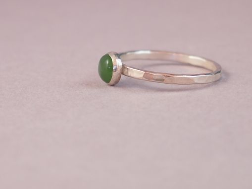 Custom Made Jade Cabochon Sterling Silver Ring
