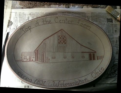 Custom Made Redware House Plate Using The Sgraffito Technique