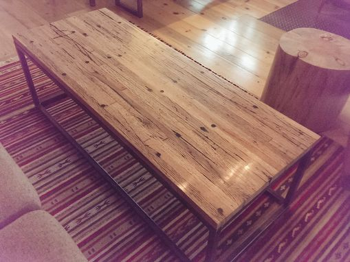 Custom Made Reclaimed Trailer Floor Wood & Steel Coffee Table