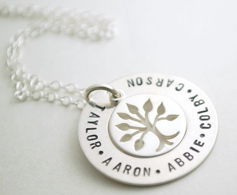 Custom Made Custom Hand Stamped Sterling Silver Family Name Necklace With Tree Of Life Charm