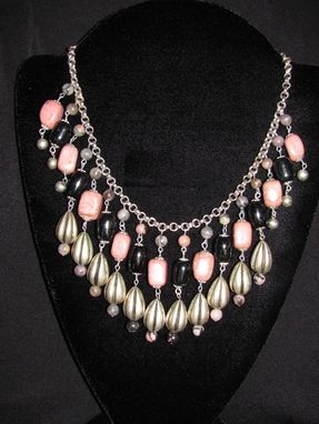 Custom Made Rhodochrosite & Balck Onyx Bib Statement Necklace