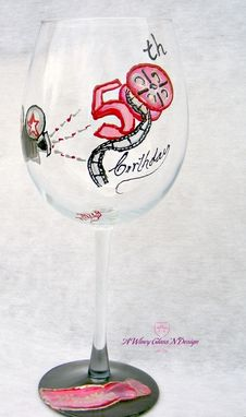 Custom Made Hollywood Themed 50th Birthday Hand Painted Wine Glass