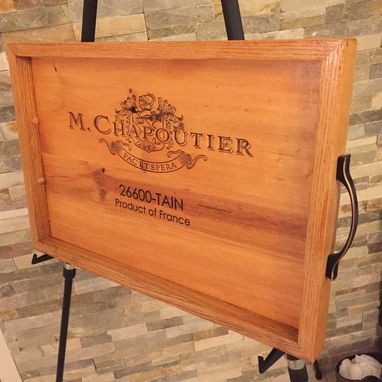 Custom Made Wine Tray Handmade White Oak And M Chapoutier Original Panel Serving Tray.