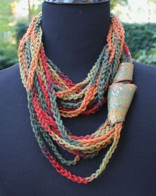 "Custom Made Mustard Seeds - Twisted Scarf, Marbled Clay Gold Embossed Clasp, 54"", 24"" Or 18"" Neck Wrap"
