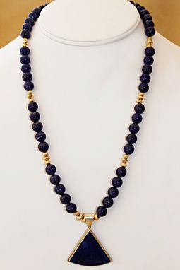 Custom Made A Stunning Classic Necklace Of Dark Blue Lapis Lazuli Beads And A 14k Gold And Silver Lapis Pendant