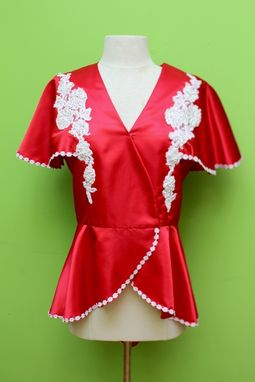 Custom Made Red Satin Butterfly Sleeve Crossover Bodice With Hand Beaded And Sequence Embroidered Appliqué