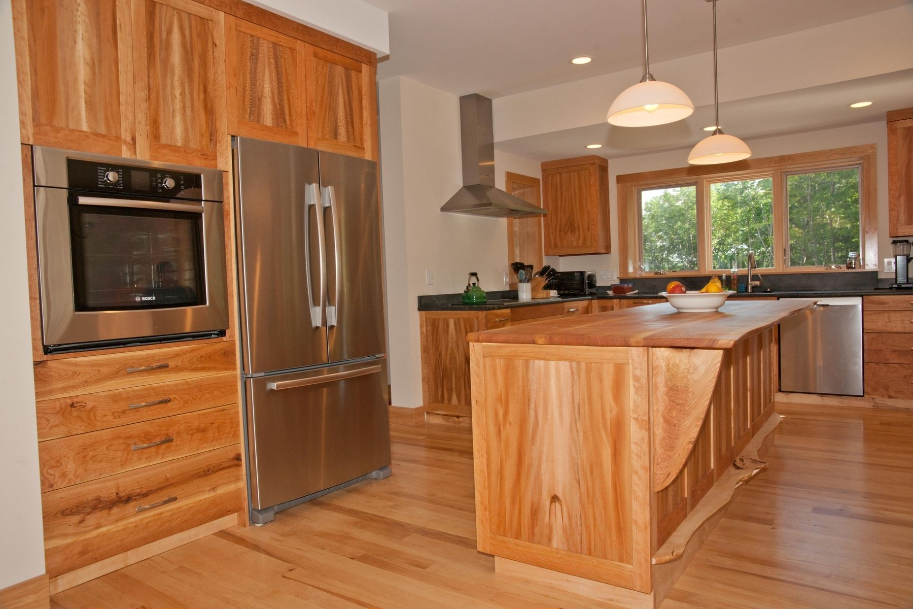 Handmade cherry american lacewood and maple kitchen for Cherry kitchen cabinets