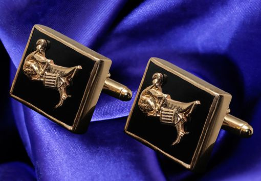 Custom Made Custom Cufflinks Overlaid Company Logo To Onyx