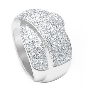 Custom Made Round Diamond Ladies Ring In 14k White Gold, Dome Ladies Ring