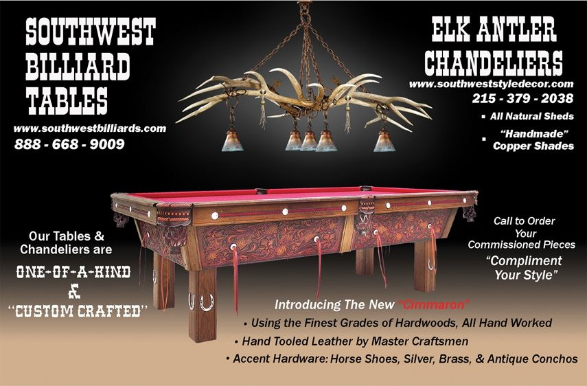 Hand Made Elk Antler Chandelier Above Pool Table By Southwest Style Decor Custommade Com