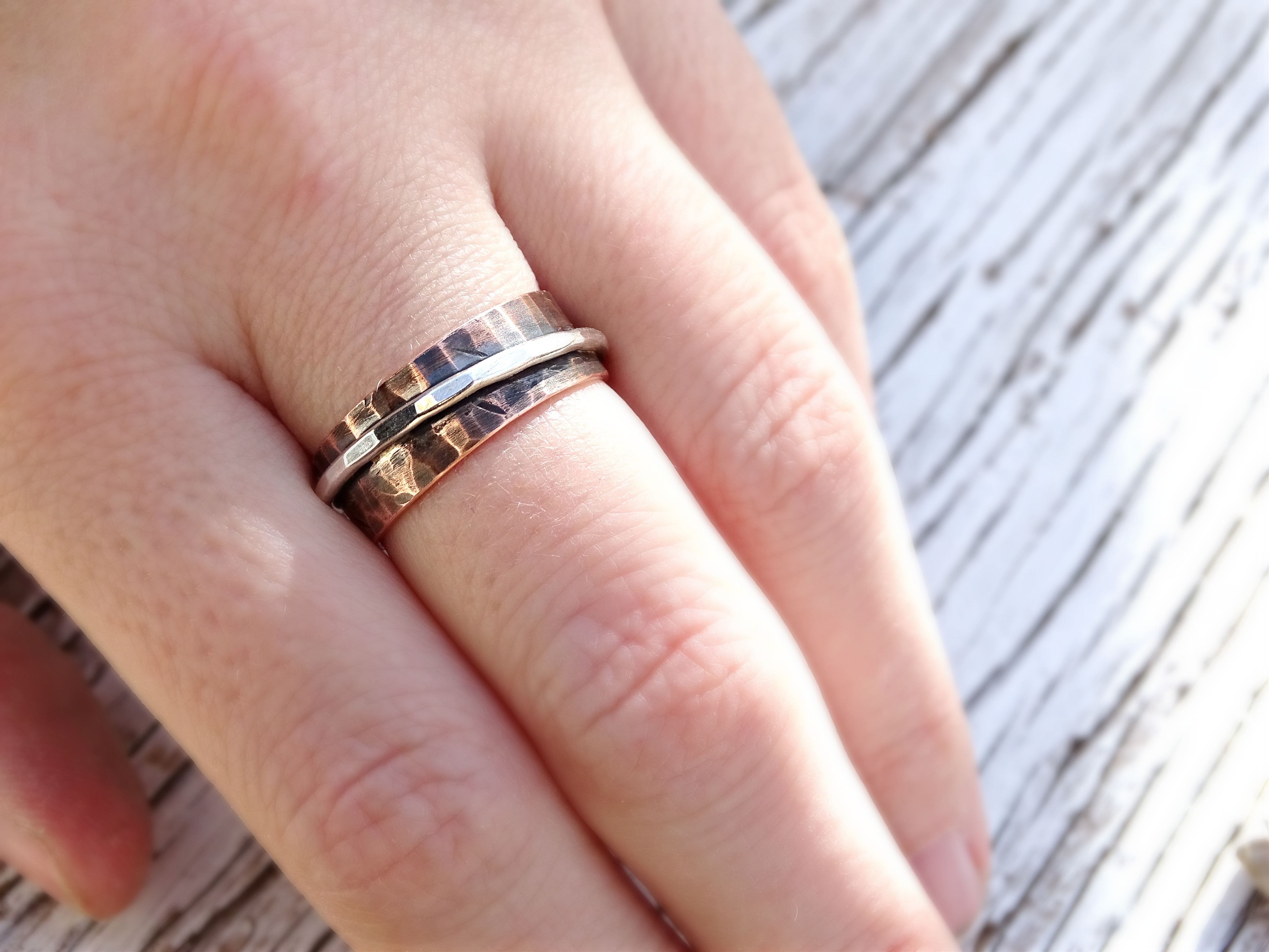 Buy a Custom Hammered Copper Silver Ring, Rustic Mens Ring ...