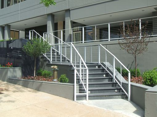 Custom Made Powder Coated Aluminum Railing With Stainless Cable Infill