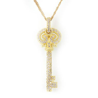 Custom Made Diamond Key Pendant In 14k Yellow Gold, Key Pendant, Ladies Pendant, Diamond Pendant
