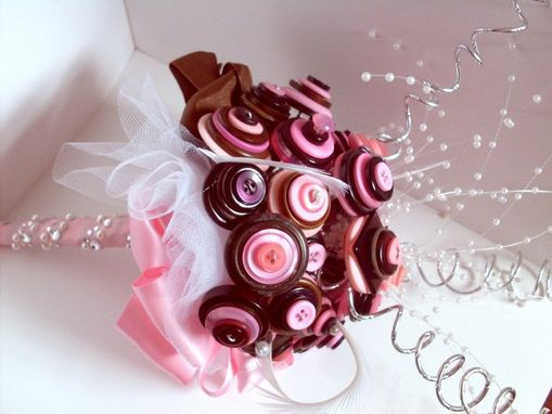 Custom Made Pink And Brown Buttons Bridal Bouquet