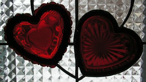 Custom Made Avon Ruby Red Heart Collectible Dish Set In Stained Glass Panel