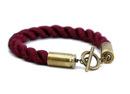 Custom Made Bullet Shell And Rope Bracelet, Choose From 4 Colors