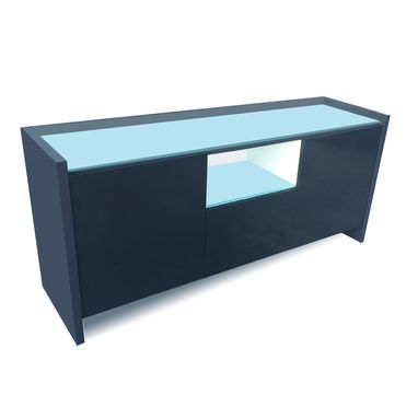 Custom Made Aspen Storage Credenza In Charcoal High Gloss