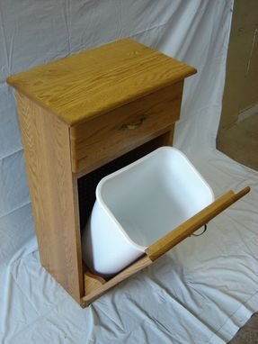 Custom Made New Solid Oak Wood Kitchen Garbage Bin | Trash Can | Recycling Bin With Drawer