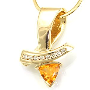 Custom Made Trillion Citrine And Diamond Pendant In 14k Yellow Gold