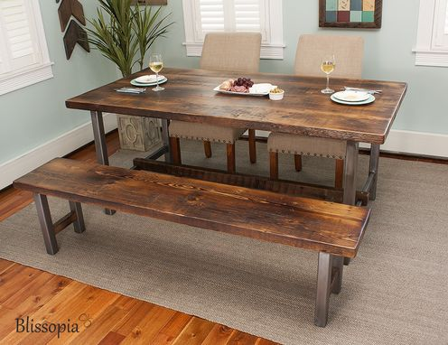 Custom Made Industrial Bench - Dining Table Bench - Entryway Bench  - Wood And Metal Bench