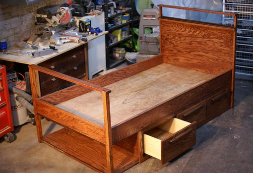 Custom Made Oak And Mahogany Captains Bed