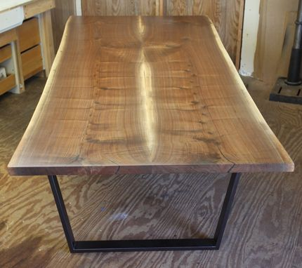 Custom Made Modern Live Edge Walnut Dining Table
