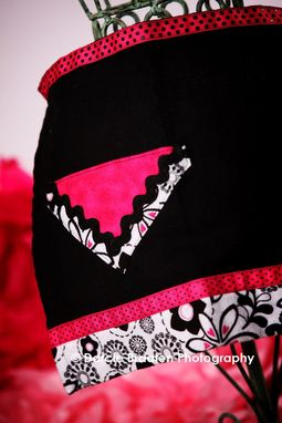 "Custom Made Black, White, And Pink Flannel Apron ""Cookies And Cream''"