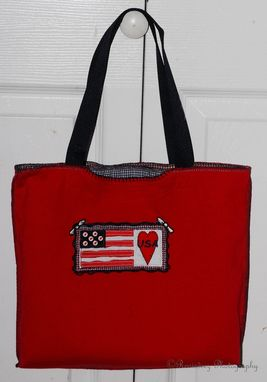 Custom Made Upcycled Usa T-Shirt Bag / Red White Blue