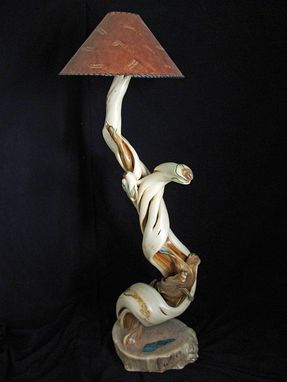Custom Made Floor Lamp Twisted Juniper Wood With Malachite Inlay