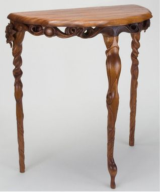 Custom Made Hand Carved Wooden Table