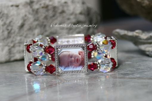 Custom Made Four-Frame Photo Bracelet With Red Garnet And Swarovski Crystals