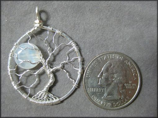 Custom Made Natural Rainbow Moonstone Full Moon Tree Of Life Pendant In Sterling Silver Wire Wrapped
