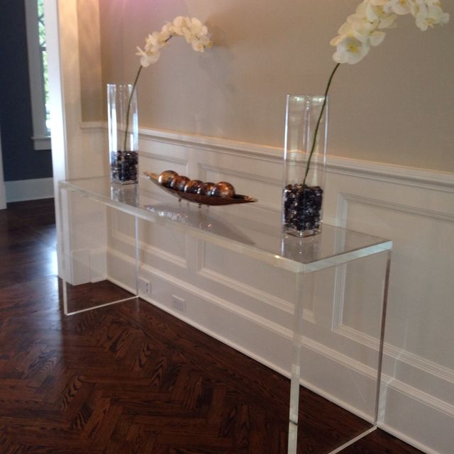 hand crafted acrylic entryway console table in custom creations canada clear ikea amazon