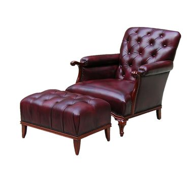 Custom Made 'Edwin' Arm Chair W/ Footstool - Sold