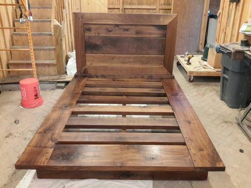 Custom Made Queen Solid Walnut Platform Bed And Nightstand